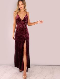 Burgundy Backless Cross Back Cord Velvet Maxi Dress