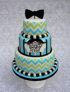 Little Man Chevron Bowtie Mustache Cake - My customer asked me to replicate the shower  Invitation, which was the multicolored chevron with black  Accents.0