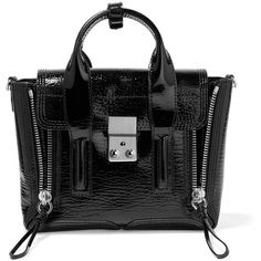 3.1 Phillip Lim The Pashli mini textured patent-leather trapeze bag ($785) ❤ liked on Polyvore featuring bags, handbags, patent leather handbags, structured handbags, mini handbags, mini purse and miniature purse