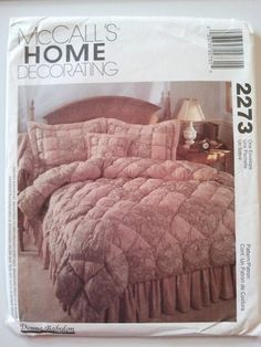 McCalls Craft Home Decorating 2273 Twin King Puff Quilt Bed Skirt Sham Set $12.99
