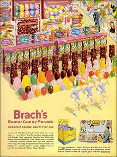 Easter - Vintage 1960's Brach's Candy Ad - Those chocolate covered Marshmallow rabbits were soooo good!!!