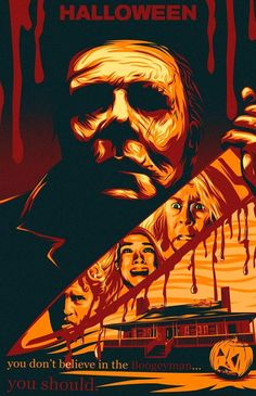 """Artists are invited to create one-of-a-kind static artwork for Universal Pictures' newest film """"Halloween"""". Best Horror Movies, Horror Films, Scary Movies, Horror Icons, Halloween Movies, Halloween Poster, Halloween Horror, Halloween Stuff, Horror Movie Posters"""