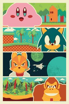 """90's Poster -  You get the Andrew Heath designed, exclusive print """"90's Heroes."""" The print features Kirby, Sonic, Star Fox, and Donkey Kong. This 12""""x18"""" print was designed exclusively for TheNerdyBomb"""