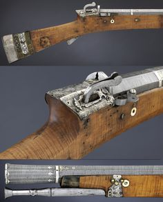 Ottoman matchlock, 17th to early 18th century, Museum Hessen Kassel. This type of Ottoman firearm was used by the Janissaries and only a few survive in Turkey as they were captured during various wars or converted to flintlocks.