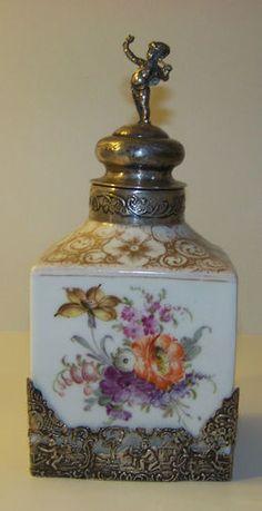 Antique Dresden Porcelain Silver Angel Top Tea Caddy Franceska Hirsch Meissen