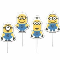 Set of 4 Minions mini candles. Top off your Minions party cake with our adorable Minions mini candles! Candles are on wooden sticks and measure x Minion Toy, Despicable Me 2 Minions, Minion Theme, Minion Birthday, My Minion, Minion Movie, 4th Birthday, Minion Party Supplies, Minion Characters