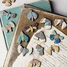 porch light moths – Famous Last Words Porcelain Jewelry, Ceramic Jewelry, Ceramic Beads, Ceramic Clay, Clay Beads, Ceramic Pottery, Slab Pottery, Fine Porcelain, Polymer Clay Crafts