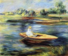 Young Woman Seated in a Rowboat - Pierre-Auguste Renoir