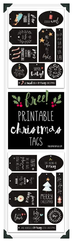 Super cute, fun and FREE Christmas printable gift tags! Two sets of tags that will look adorable tied to gifts with baker's twine!