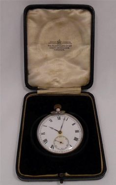 Antique 1928 Sterling Silver Pocket Watch - Original Box - Working - 74.9g