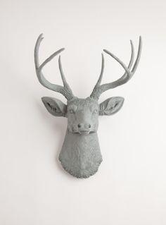 The Geoffrey   Stag Deer Head   Faux Taxidermy   Grey Resin