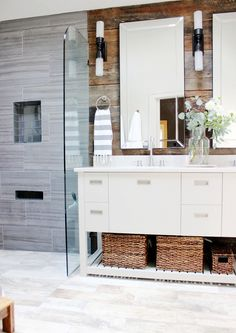 Rustic bathroom with modern finishes