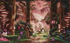 fantasy fairy tale art magic cartoon trees forest cute kids children scenic waterfall nature mountains soft mood architecture buildings houses cabin path trail animals cute sky moon wallpaper background