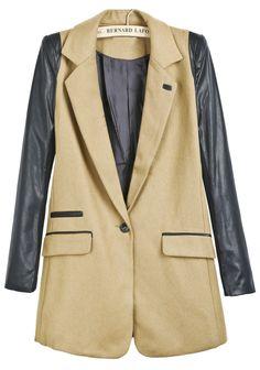 Khaki Contrast PU Leather Long Sleeve Woolen Coat 0.00