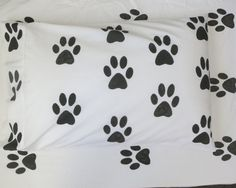 Paw Print pillowcase by AliJoyKids on Etsy Pillow Cases, Bedding, Trending Outfits, Unique Jewelry, Handmade Gifts, Etsy, Vintage, Kid Craft Gifts, Handcrafted Gifts