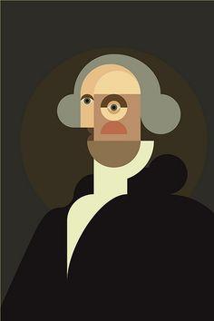 George Washington by Denis Bennett Graphic Illustration, Graphic Art, Modern Art, Contemporary Art, Geometric Art, Urban Art, Oeuvre D'art, New Art, Vector Art