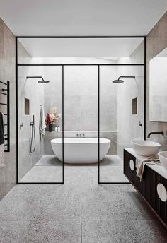 Bathroom decor for your master bathroom renovation. Discover master bathroom organization, master bathroom decor some ideas, master bathroom tile ideas, bathroom paint colors, and more. Neutral Bathroom, Grey Bathrooms, Minimal Bathroom, Master Bathrooms, Small Luxury Bathrooms, Marble Bathrooms, White Bathroom, Bathroom Trends, Bathroom Renovations