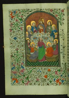 Last Supper  Text: Mass of the Holy Sacrament - Book of Hours-Bruges-W246