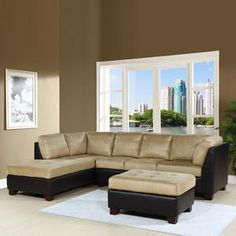 Pacific Loft Channa Casual Sandstone Faux Leather Sectional Atg7103739