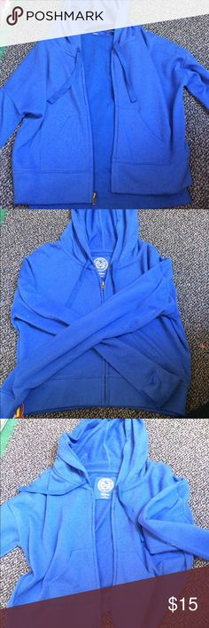 Long sleeved, cropped, blue zip-up hoodie/cami set Comfortable, cropped blue hoodie that's never been worn! Also included, a matching cami of the same color. SO Shirts & Tops Sweatshirts & Hoodies