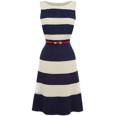 Noemie Stripe Matching Color Dress (Blue): Clothing - love the red belt. Mode Outfits, Fashion Outfits, Womens Fashion, Pretty Dresses, Beautiful Dresses, Gorgeous Dress, Dress Skirt, Dress Up, Sheath Dress