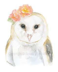 Barn Owl with Flowers watercolor giclée reproduction. Portrait/vertical orientation. Printed on fine art paper using archival pigment inks. This quality printing allows over 100 years of vivid color i