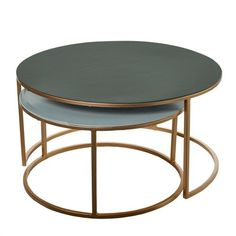Welcome to the Pols Potten webshop and catalogue - meubles > tables > coffee tables > metal > Coffee table enamel dark green+beige set 2 Patio Furniture Sets, Sofa Furniture, Furniture Stores, Modern Interior, Interior Design, Living Room Trends, Coffee Set, Coffee Tables, Contract Furniture