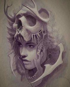 Ideas Tattoo Ideas Drawings Skull For 2019 Tattoo Sketches, Tattoo Drawings, Drawing Sketches, Art Drawings, Style Tribal, Character Art, Character Design, Girl Face Tattoo, Tattoo Ideas
