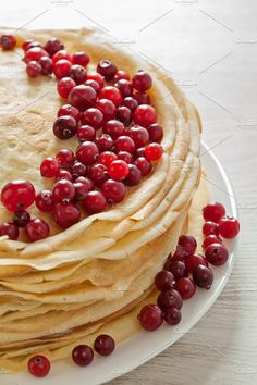 Stack of pancakes with cranberries by Olha Klein on @creativemarket Food Photography