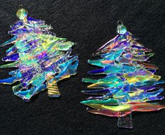 Fused Glass CHRISTMAS TREE, Fused Glass Ornament, Christmas Tree Ornament, Dichroic Ornament, Holiday Art, Holiday Fused Glass, Stripe