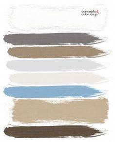 coastal casual, paint palette, ivory, warm brown, light brown, warm sand, light tan, light gray, dark bronze, sky blue, pale blue, light blue, tan and blue #ModernBrownLivingRoom