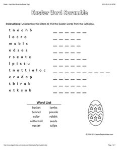 Easter word scramble with an Easter egg. 4 levels of difficulty. Scrambled words change each time you visit