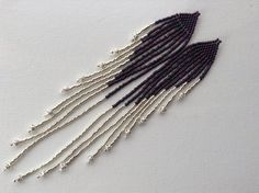 Sexy long Peacock dark purple and silver hand by 1ofAKindByDesign