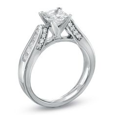 1-1/2 CT. T.W. Certified Princess-Cut Diamond Engagement Ring in 14K White Gold - Zales