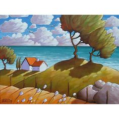 ORIGINAL Painting Modern Folk Art Ocean Cottages Blue Water Windy Trees & Blooms Landscape Fine Artwork Seascape by C Horvath Buchanan 18x24. $395.00, via Etsy.