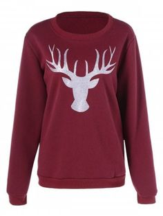 1b3bb4a439f0d Christmas Deer Printed Pullover Sweatshirt Christmas Deer