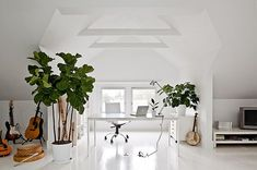 white-painted-home-office-with-green-plants