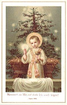 Divine Infant Jesus at the Altar Rail Religious Pictures, Jesus Pictures, Religious Icons, Religious Art, Vintage Holy Cards, Vintage Christmas Cards, Religion, Christmas Jesus, Christmas Trees