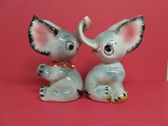 Vintage Ucagco Elephants w/Entwining Trunks & HUGE Ears Salt & Pepper Shakers Salt Pepper Shakers, Salt And Pepper, Elephants, Ears, Trunks, Stuffed Peppers, Christmas Ornaments, Holiday Decor, Check