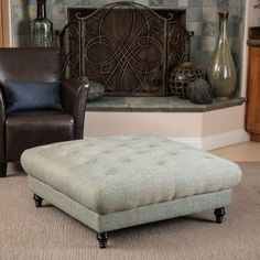 You and your guests will appreciate the plush Bordeaux ottoman. It has a tufted pillow top and blue/grey colored fabric, making this ottoman both comfortable and luxurious, while providing extra seating with style. Ottoman, Fabric Ottoman, Christopher Knight Home, Furniture, Ottoman Coffee, Furniture Outlet Stores, Storage Ottoman, Ottoman Coffee Table, Modern Seating