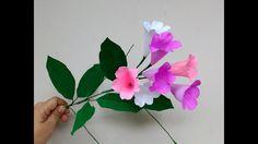 How to make Paper Flowers Garlic Vine / Mansoa alliacea (flower# 211)