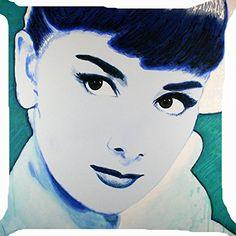 cushion cover throw pillow case 18 inch pop art Audrey Hepburn pretty girl face cute both sides image zipper Pop Rocks, Audrey Hepburn Painting, Pretty Girl Face, Throw Pillow Cases, Rock Art, Art Quotes, Original Artwork, Cute, Pictures
