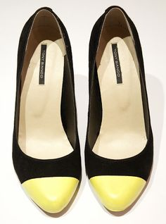 DIY Neon Yellow Cap Toe Heels by A Pair & A Spare