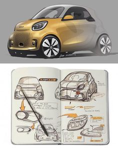 2020 smart EQ fortwo and forfour official sketches by Bram Olaerts Car Design Sketch, Car Sketch, Design Autos, Preppy Car, Industrial Design Sketch, Microcar, Smart Car, Car Drawings, Transportation Design