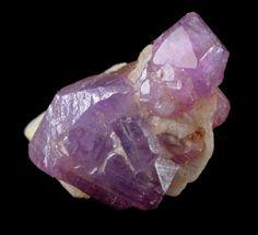 Cluster of violet Spinel crystals in  Calcite matrix / Mogok, Myanmar (Burma)