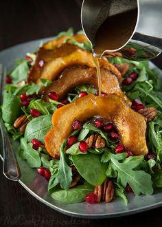 Autumn Squash Salad with Pomegranate Seeds and Warm Cider Dressing