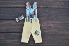 Newborn Photography Pants  Upcycled Soft Yellow Colorful Patchy Plaid Suspenders and Bow Tie by ToodleBugCreations, $26.50