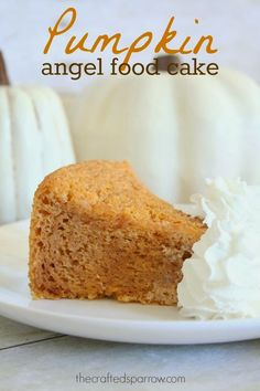 Pumpkin Angel Food Cake thecraftedsparrow.com