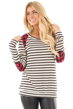 e01df68d45ce2 Ivory and Black Stripe Sweater with Red Plaid Details front close up  Boutique Tops