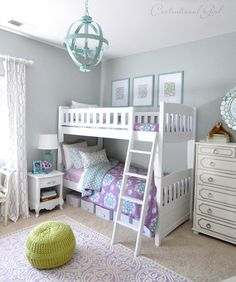 lavender and blue girls room with aqua chandelier and bunk beds. #kidsroomideas #kidsrooms